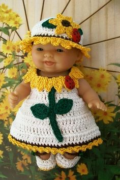 Berenguer itty bitty Lots to love Reborn doll clothes clothing - 5 inch doll clothes - Sunflower doll dress hat outfit - hand crocheted ready to buy.