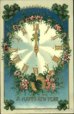 vintage new year postcard with clock horseshoes clovers and flowers