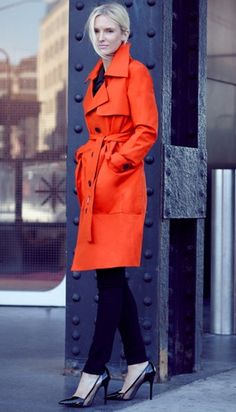 f452621ef3 Brighten up a rainy day with this Orange Trench Coat! Kate Davidson Hudson  Classic Outfits