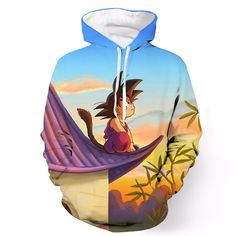 DBZ Cute Kid Goku Sitting Sky Full Print Pocket 3D Hoodie