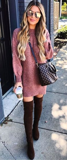 obsessed with this sweater dress + over the knee boots outfit!