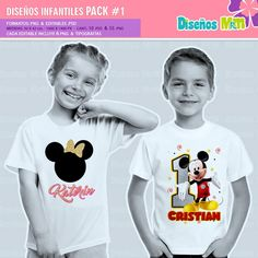 DISEÑOS TAZAS INFANTIL DE DIBUJOS ANIMADOS | PACK N5 Mickey Mouse, Minnie, Spiderman, Mario Bros., Ballet, Peppa Pig, Paw Patrol, Children, T Shirt