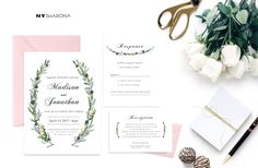 Rustic Lavender and Greenery Wedding Invitation suite