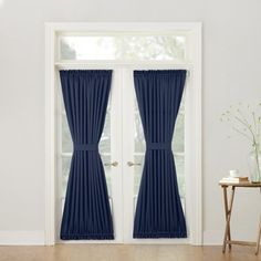 Sun Zero Bella Room Darkening Rod Pocket Door Panel In Navy - Add a touch of elegant style to your glass or French doors with the attractive Bella Rod Pocket Door Panel. This pretty panel also makes the perfect decorative accent to a door. French Door Curtain Panels, Door Panel Curtains, Patio Door Curtains, Panel Doors, Drapes Curtains, Windows And Doors, Panel Bed, Kitchen Curtains, Blackout Curtains