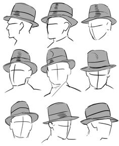 "tricotee: "" dunno if you guys were still wanting these hat refs but it's fedora time if I said I didn't have enough misc. sketches and films filled with fedora-wearing crowds to produce dozens more reference plates the same size as this one, I'd be. Drawing Techniques, Drawing Tips, Drawing Sketches, Art Drawings, Cap Drawing, Sketching, Top Hat Drawing, Manga Drawing, Drawing Art"