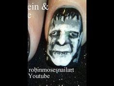 ▶ Frankenstein Monster Nails - Scary Movie Nail art - YouTube
