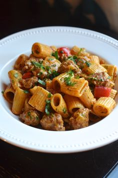 Rigatoni with Chorizo and Spicy Chipotle Cream Sauce. This was good, loved using chorizo in a pasta dish with just enough heat Easy Pasta Recipes, Cooking Recipes, Cheesy Recipes, Game Recipes, Smoker Recipes, Rib Recipes, Simple Recipes, Cooking Tips, Vegan Recipes
