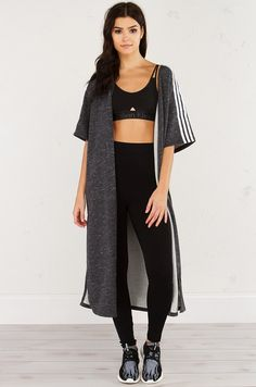 adidas Short Sleeve Athletic Open Cardigan Cape in Grey