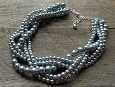 Grey Pearl Necklace Braided Cluster on Silver or Gold Chain