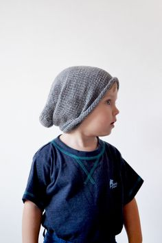 Hand knit toddler beanie // Slouchy hat grey by OnwardOnward