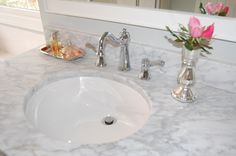 White Cultured Marble Carrera Bathroom Vanity Tops Include Round Undermount Sink And Chrome Nickel Water Faucet Also Flower On Vase As Well As Bathroom Granite Countertops And Bathroom Vanities With Tops, Cultured Marble Countertops: Bathroom, Kitchen Marble Vanity, Marble Bathroom, Cultured Marble Countertops, Bathroom Countertops, Cultured Marble, Bathroom Top, Granite Bathroom, Farmhouse Sink Bathroom Vanity, Marble Bathroom Vanity