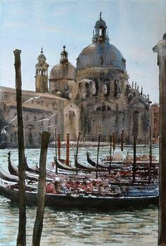 Sergiy Lysyy Venice Watercolor Architecture, Watercolor Landscape, Landscape Art, Landscape Photography, Learn Watercolor Painting, Watercolor Pictures, Watercolor Artists, Venice Painting, Travel Sights