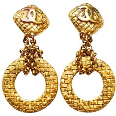 Designer Clothes, Shoes & Bags for Women 80s Earrings, Chanel Earrings, Chanel Jewelry, Vintage Earrings, Clip On Earrings, Gold Jewelry, Dangle Earrings, Crochet Earrings, Vintage Jewelry