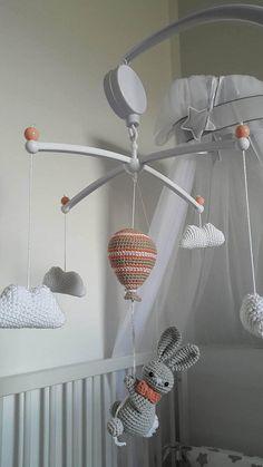 Handmade crochet Baby mobile Rabitt on the ballon baby