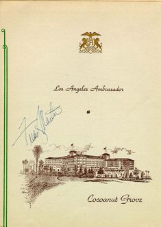 A dinner menu dated December 16, 1944 and signed by the Cocoanut Grove's orchestra leader Freddy Martin.