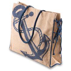Burlap Tote Bag - Anchor Design Snap Closure, with 2 straps 1 inside pocket Measures: Burlap Tote, Burlap Crafts, Jute Bags, Market Bag, Paper Shopping Bag, Reusable Tote Bags, Handbags, Anchor, Upcycle