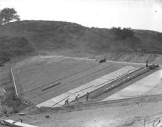 Construction of Puddingstone Dam (1927) by 47specialdeluxe, via Flickr