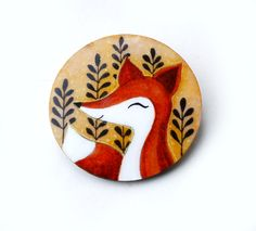 Hand-painted Cute Fox Round Wooden Brooch - woodland jewelry - watercolor on wood original painting - fox illustration brooch