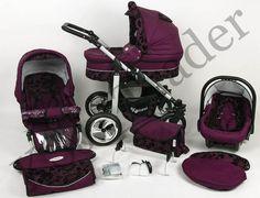 Silver 3 in 1 Pram Pushchair Stroller Travel System Purple / Flowers | eBay