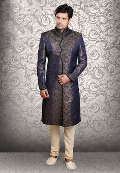 Buy Dark Blue Art Silk Brocade Readymade Sherwani online, work: Embroidered, color: Dark Blue, usage: Wedding, category: Mens Wear, fabric: Art Silk, price: $436.70, item code: MHG251, gender: women, brand: Utsav