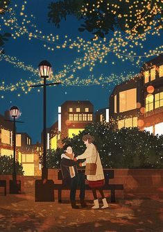 Find images and videos about beautiful, art and sky on We Heart It - the app to get lost in what you love. Cute Couple Drawings, Cute Couple Art, Cute Drawings, Cartoon Kunst, Cartoon Art, Couple Illustration, Illustration Art, Arte Indie, Anime Scenery