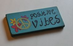 boho decor wooden sign, boho wall art, positive vibes sign, peace sign, peace sign decor, boho home decor on Etsy, $18.00