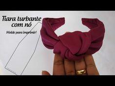 Turban headband with knot + print template Ribbon Hair, Ribbon Bows, Hair Bows, Turban Headband Tutorial, Knot Headband, Fabric Headbands, Turban Headbands, Original Gifts, Bandeau