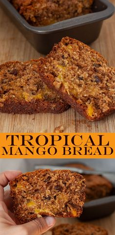 Easy Mango Bread Recipe is a Taste of Summer This delicious tropical Mango Bread recipe is packed with mango, coconut and walnuts for a moist, delicious quick bread with a tropical taste that the whole family will love! Mango Desserts, Köstliche Desserts, Delicious Desserts, Yummy Food, 4th Of July Desserts, Quick Bread Recipes, Baking Recipes, My Recipes, Favorite Recipes