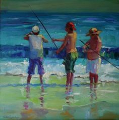 THREE SURF FISHERMEN, painting by artist Elizabeth Blaylock
