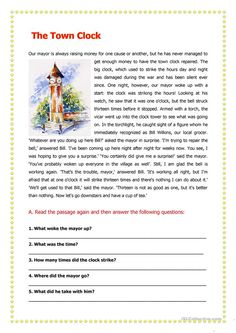 The Town Clock worksheet - Free ESL printable worksheets made by teachers Free Reading Comprehension Worksheets, 2nd Grade Reading Worksheets, First Grade Reading Comprehension, 3rd Grade Reading, Third Grade, Reading Skills, Reading Tutoring, Teaching Reading, English Reading