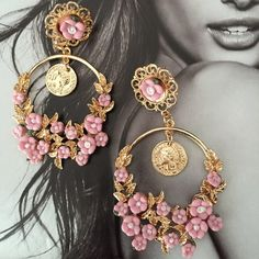 Pink Flowers Gold Earrings Beautiful and new! Jewelry Earrings