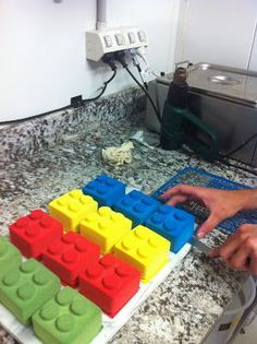 Lego cakes- cupcakes in the brownie tin?