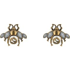 Gucci Bee Earrings With Crystals ($320) ❤ liked on Polyvore featuring jewelry, earrings, fashion jewellery, for women, jewellery & watches, honey bee jewelry, cream pearl earrings, earring jewelry, cream jewelry and bee earrings