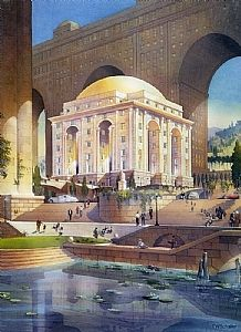 cultural center - rome by Thomas  W. Schaller Watercolor ~ 30 inches x 20 inches