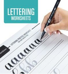 Download @tombowusa's FREE lettering worksheets! Includes uppercase, lowercase and numbers!