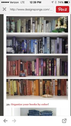 Clean look for the library! Organize books by color, instead of size, genre, or author... Cool!!