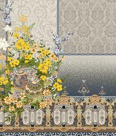 digital design, textile design,grey mood, yellow floral on Behance Textile Pattern Design, Textile Patterns, Textile Prints, Pattern Art, Print Patterns, Textiles, Oriental Print, Design Seeds, Border Design