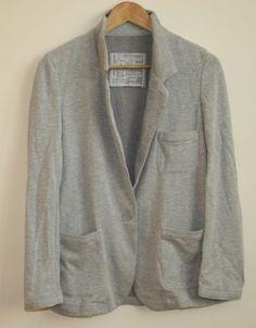 Cotton Blend Woman's Fashion F&F Boyfriend Blazer Jacket Size 14 Light Grey