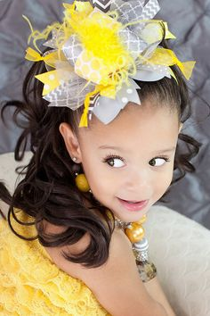 Yellow and Gray and Bling Over the Top Hair Bow with by sanchezc30, $19.99