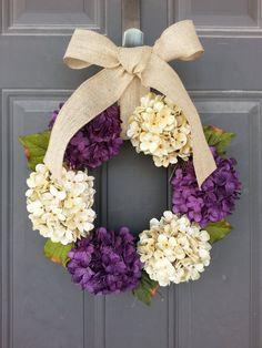 Purple and Cream Hydrangea - Spring Wreath - Everyday Wreath - Year Round Wreath - Front Door Wreath