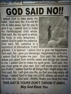 "God Said No. When we cannot understand ""why"""