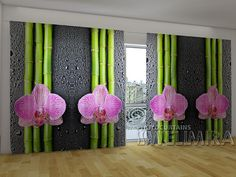 Orchids and Bamboo 2 #Wellmira #ModernCurtains #PhotoCurtains #PanoramicCurtains #Foto Vorhänge #Foto cortinas #Orchid #Bamboo