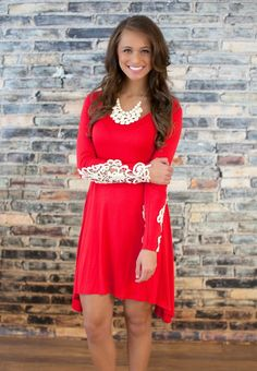 The Pink Lily Boutique - Be My Valentine Lace Sleeve Dress, $39.00 (http://thepinklilyboutique.com/be-my-valentine-lace-sleeve-dress/)