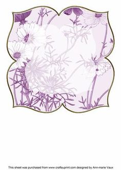 Cosmos Purple Large Blooms 8inch Insert Panel on Craftsuprint - Add To Basket!