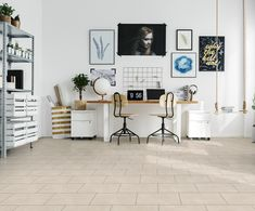 Buy Hipster home office by bialasiewicz on PhotoDune. Hipster home office in white with big double desk Cores Home Office, Home Office Colors, Home Office Space, Home Office Design, Home Office Decor, Home Decor, Bright Office, White Office, Office Style
