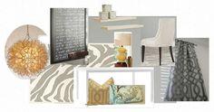 Shabby Nest office mood board...greys, yellows, zebra rug, floating shelves.