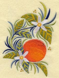 Russian Folk Orange 5x7 Embroidered Quilt Square by Embnut for $12.95