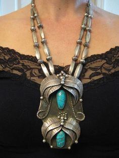 Vintage Pawn Necklace | Unknown Navajo Artist (Signed S).  Sterling silver and turquoise