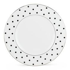 """Kate Spade LARABEE ROAD BLACK ACCENT PLATE by Lenox. $29.75. This sophisticated dinnerware service by kate spade features white raised stitches, black banding, and elegant platinum detail. Diameter of dinner plate: 10 3/4"""", salad plate: 8"""", bread plate: 6 1/3"""", saucer: 5 1/2""""; capacity of cup: 7 oz.. Crafted of Lenox bone china accented with precious platinum. Made in the USA by Lenox. Dishwasher-safe. Kate Spade Artistry, Lenox Craftsmanship. Two iconic brands, one exceptional..."""