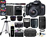 #9: Canon EOS Rebel T6 18MP Wi-Fi DSLR Camera with 18-55mm IS II Lens  EF 75-300mm III Lens  32GB & 16GB Card  Wide Angle Lens  Telephoto Lens  Flash  Grip  Tripod - 48GB Deluxe Accessories Bundle